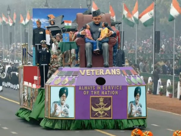 Ex servicemen tableau at Republic Day parade:
