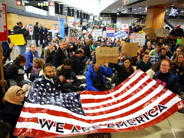 Protestors seen at Seattle-Tacoma International Airport