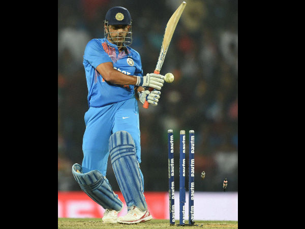 Dhoni clean bowled on last ball of innings