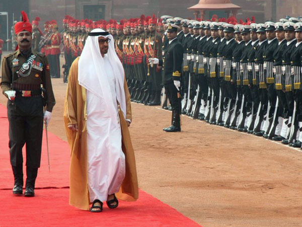 Crown Prince of Abu Dhabi and Deputy Supreme Commander of the Armed Forces of United Arab Emirates Sheikh Mohamed bin Zayed Al Nahyan at Rastrapati Bhawan.