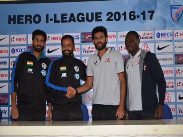 Minerva coach (left) with Aizawl FC coach Khalid Jameel (Image courtesy: I-League Twitter handle)