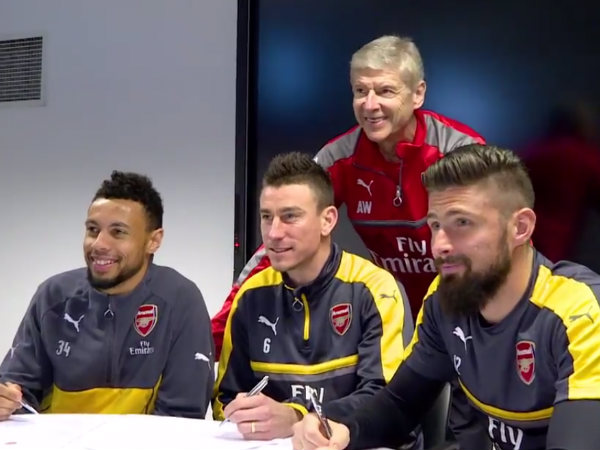 From left: Francis Coquelin, Laurent Koscielny and Olivier Giroud (Image courtesy: Arsenal Twitter handle)