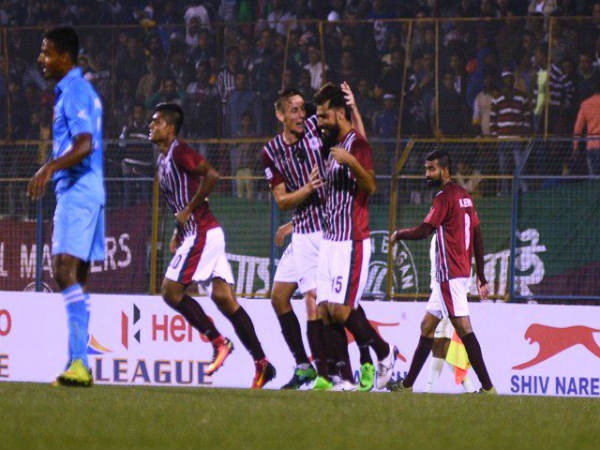 Balwant Singh (centre) celebrate after scoring (Image courtesy: I-League Twitter handle)