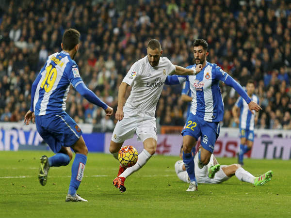 File photo: Karim Benzema (centre) in action for Real Madrid