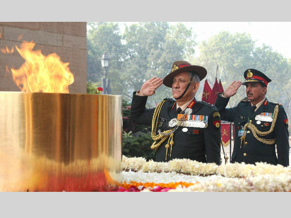 Chief of Army Staff, General Bipin Rawat paying homage at Amar Jawan Jyoti, India Gate, in New Delhi. PTI Photo