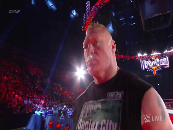 Brock Lesnar on Raw (Image courtesy: WWE Twitter)