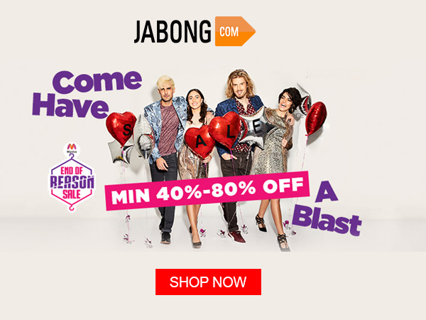 Jabong 'End of Reason Sale' Minimum 40% Cashback on Products* 'Welcome