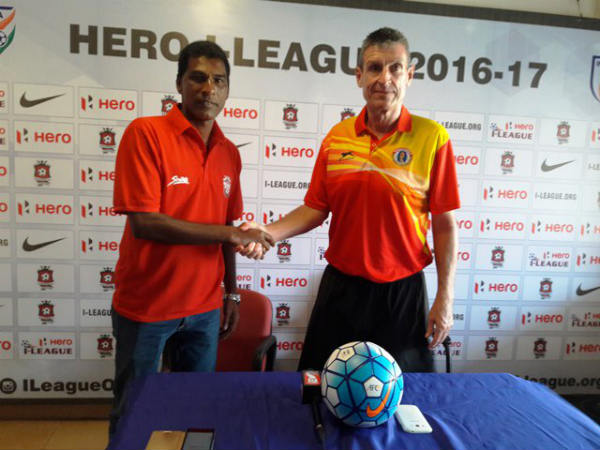 Churchill coach (Alfred Fernandes) and East Bengal coach Trevor James Morgan (Image courtesy: I-League Twitter handle)