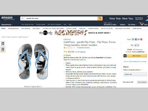 After Indian flag, Amazon US now selling Gandhi flip flops