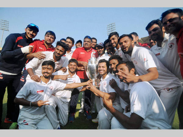 Gujarat players celebrate their Ranji Trophy win