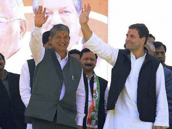 Congress Vice President Rahul Gandhi and Uttarakhand Chief Minister Harish Rawat