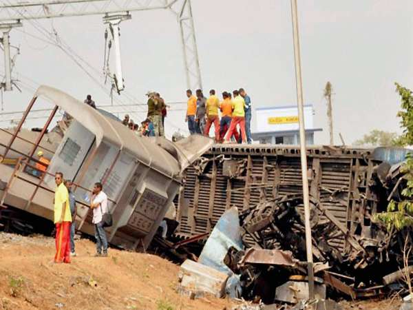 The mangled remains of Hirakhand Express which met with an accident near Kuneru station in Vizianagaram, Andra Pradesh in this photograph taken on January 22.
