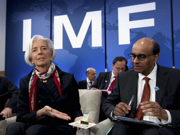 File photo of IMF chief Christine Lagarde with IMFC Chair Tharman Shanmugaratnam at a meeting in Washington