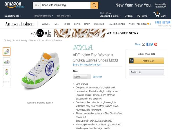 Not just doormat, Amazon has Indian flag on shoes, laces too