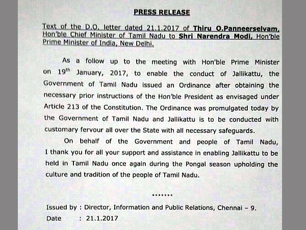 TN CM letter to PM on Jallikattu ordinance being approved