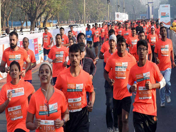 Participants running during Kolkata Marathon
