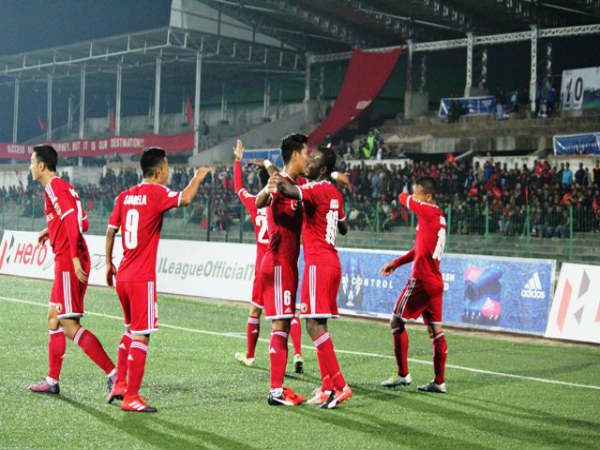 Lajong players celebrate (Image courtesy: I-League Twitter handle)