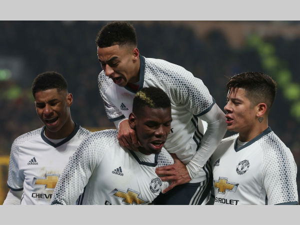 Manchester United celebrate their goal in semi-final against Hull City. Photo from Man United's website