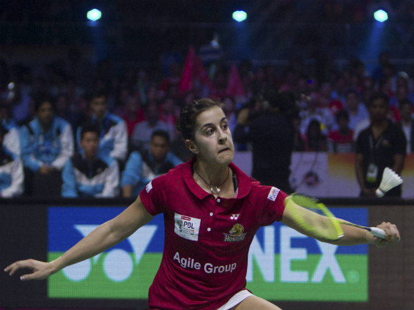 Carolina Marin in action for Hyderabad Hunters