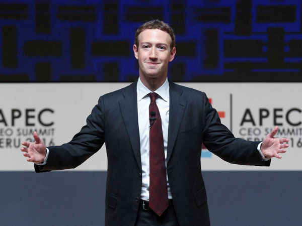 Mark Zuckerberg, chairman and CEO of Facebook, speaks at the CEO summit during the annual Asia Pacific Economic Cooperation (APEC) forum in Lima, Peru.