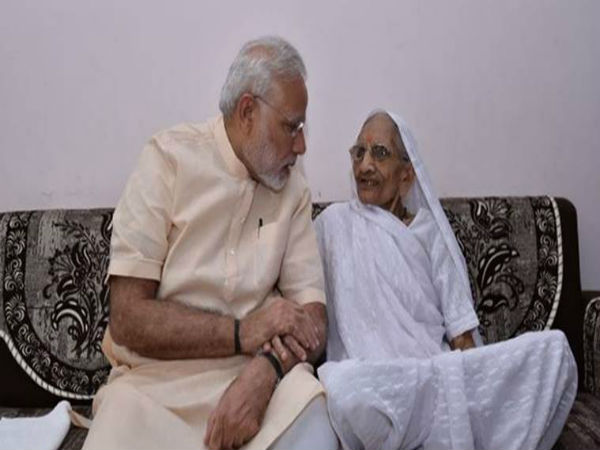 PM Modi with his mother Heeraban