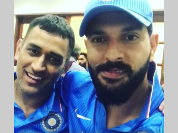 Screengrab: MS Dhoni (left) and Yuvraj Singh in the video shared by the latter