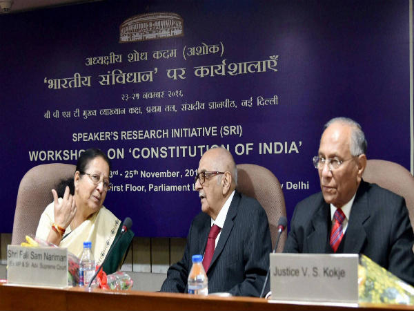 File photo: Fali S Nariman (centre)