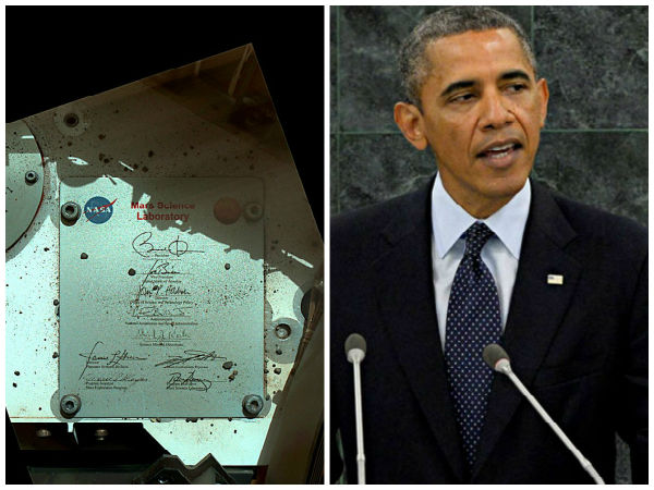 Obama thanks NASA for carrying his signature to Mars