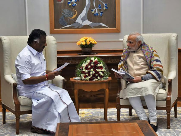 Tamil Nadu Chief Minister O Paneerselvam with Prime Minister Narendra Modi.