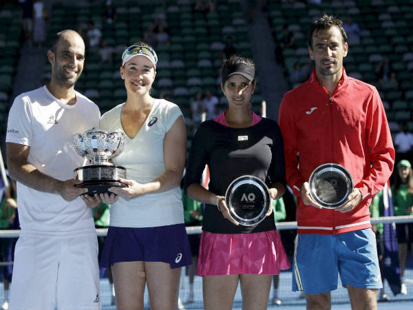 From left: Sebastian Cabal, Abigail Spears, Sania Mirza and Ivan Dodig