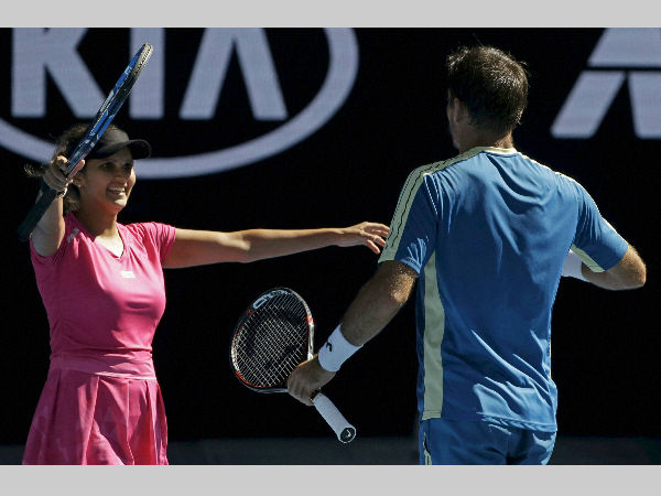 Sania Mirza (left) celebrates with Ivan Dodig after their semi-final win