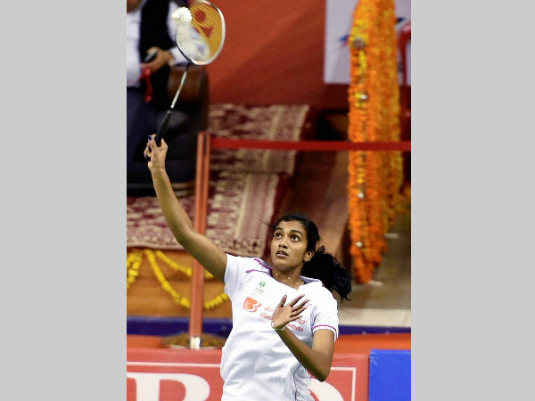 PV Sindhu in action at the Syed Modi tournament
