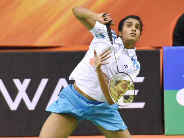 PV Sindhu in action during her match at Syed Modi International Grand Prix Gold tournament