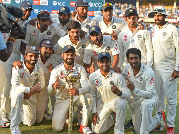 A file picture of Indian Test team celebrating after becoming No. 1 in ICC Rankings recently