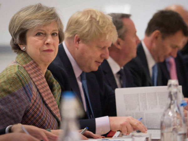 Britain's Prime Minister Theresa May holds a regional Cabinet meeting in Runcorn, England, Monday Jan. 23, 2017 as she launched her industrial strategy for post-Brexit Britain.