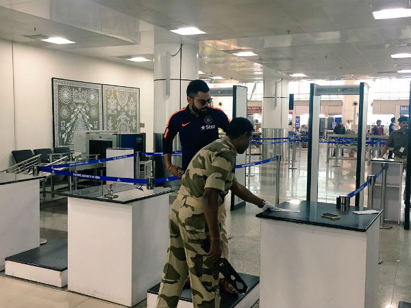 Virat Kohli during security check at Bhubaneswar airport