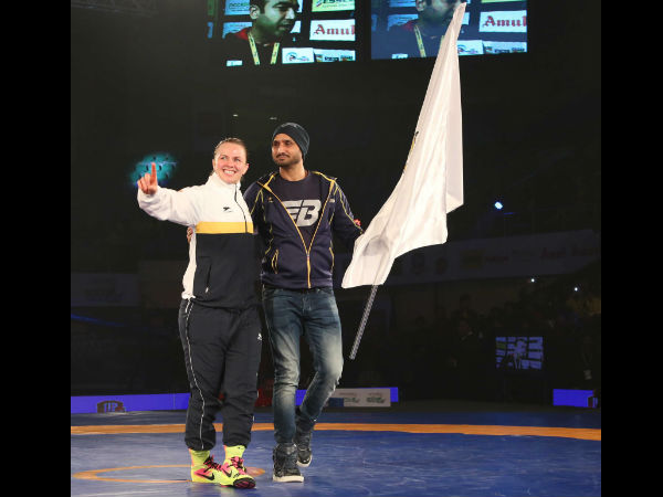 Winning moment shared by Erica Wiebe captain and Team Co- Owner Harbhajan Singh