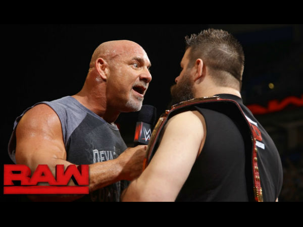 Goldberg confronted Owens on Raw (image courtesy Youtube)