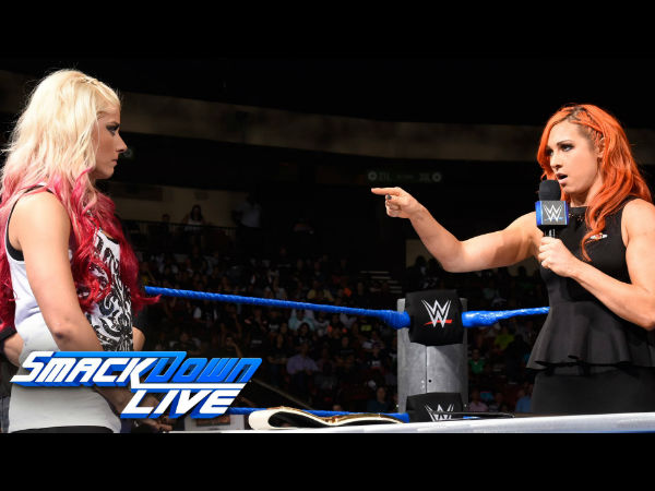 Becky Lynch (right) received backstage heat for her harsh words (image courtesy Youtube)