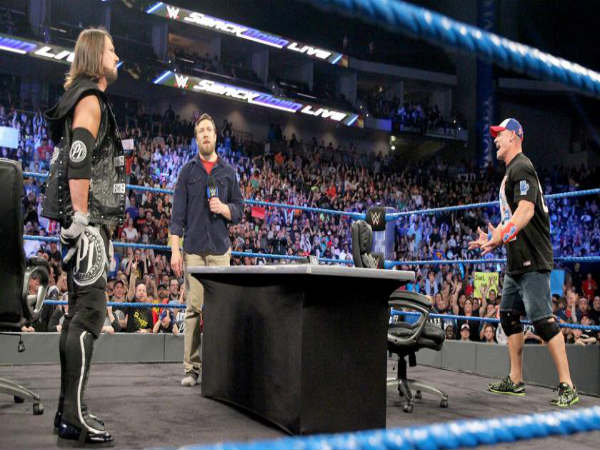 John Cena (right) and AJ Styles on Smackdown (Image courtesy: wwe.com)