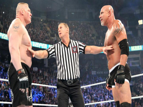 Goldberg (right) and Brock Lesnar (left) (Image courtesy: wwe.com)