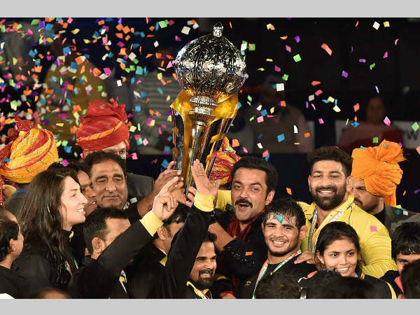 Punjab Royals' players, owners and others celebrate their PWL title win
