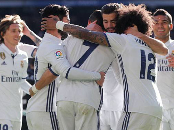 Real Madrid players celebrate (Image courtesy: Real Madrid Twitter handle)