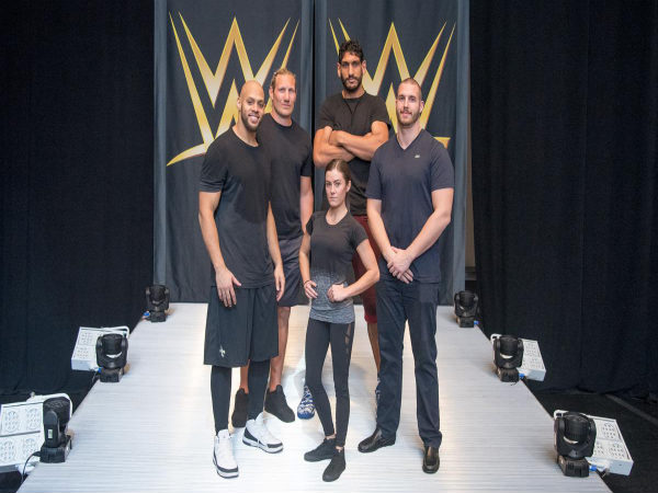 Satnam Singh (centre) along with other pro-athletes at WWE Performance Center