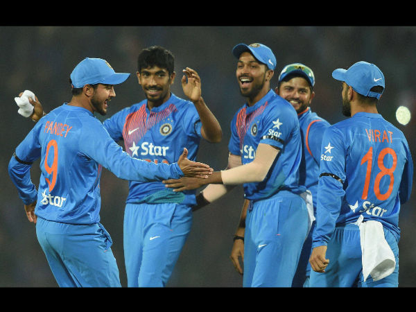 Indian players celebrate a England wicket during the T20I series
