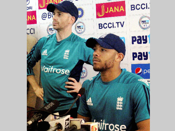 Tymal Mills (right) speaks to the media in Kanpur on Tuesday (January 24)