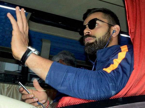 Indian captain Virat Kohli is seated in the team bus in Kolkata on Friday (January 20)