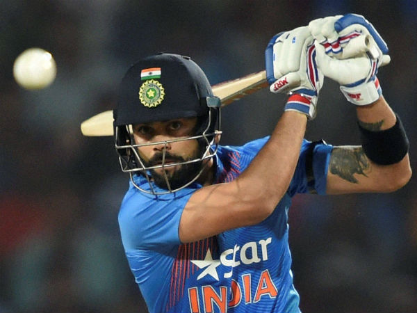 Virat Kohli plays a shot against England in the 2nd T20I in Nagpur