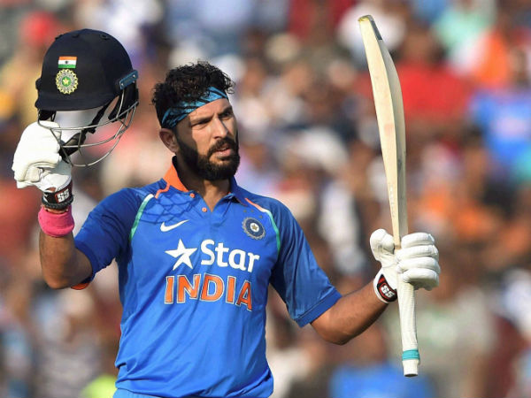 Yuvraj Singh celebrates his century in Cuttack on Thursday (January 19)