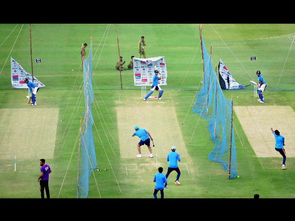 Team India batting in the nets